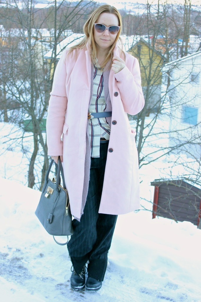 Coat- vila Blouse - KappAhl Cardigan - expresso Pants- old Boots- Bianco Bag- DKNY