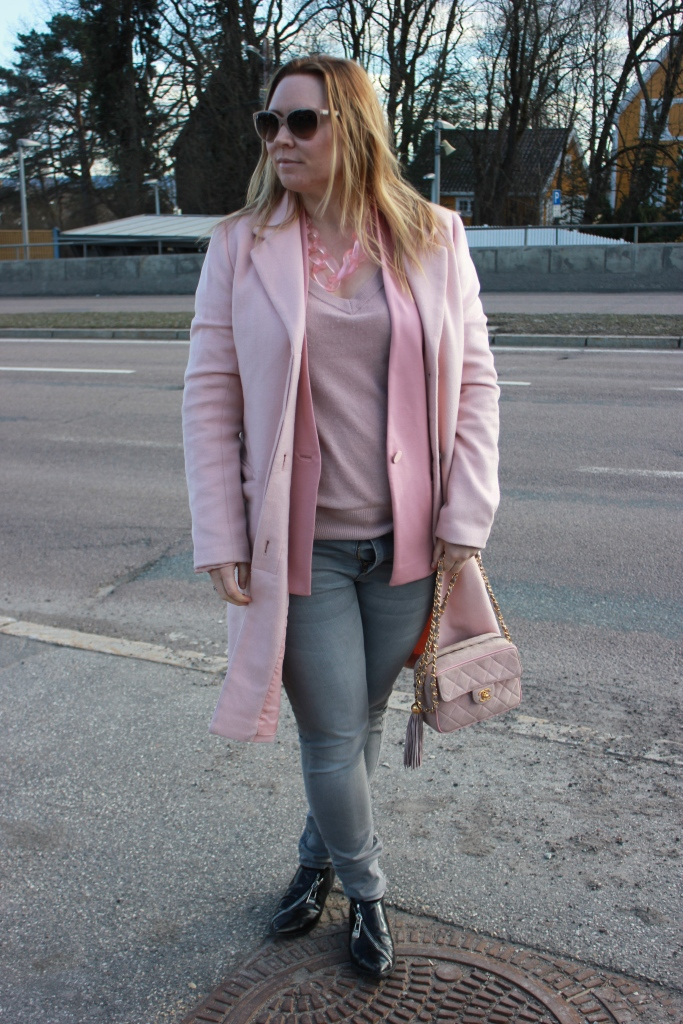 Coat- Vila Blazer- By Malene Birger Knit and jeans- H&M Shoes - Sonia Rykiel Bag - Chanel