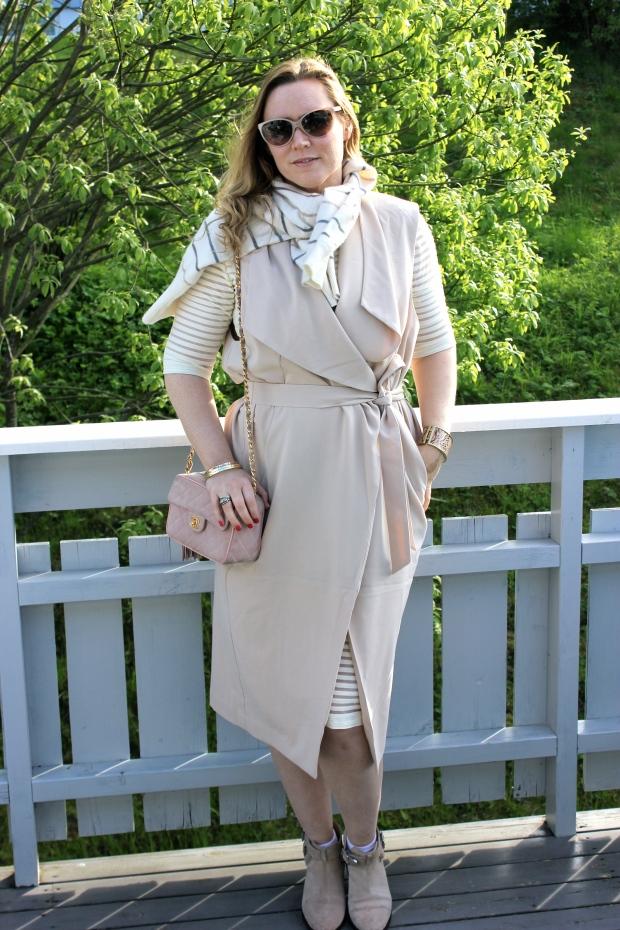 Vest - h&m Dress - unknown boots- h&m sweater - vintage bag- Chanel